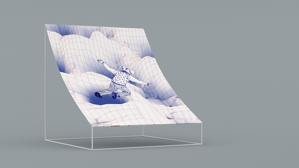3D render for an art installation of large prints