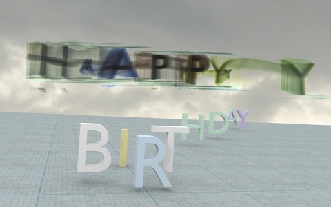 Happy birthday - Lightpainting with a 3D animation - photography and 3D