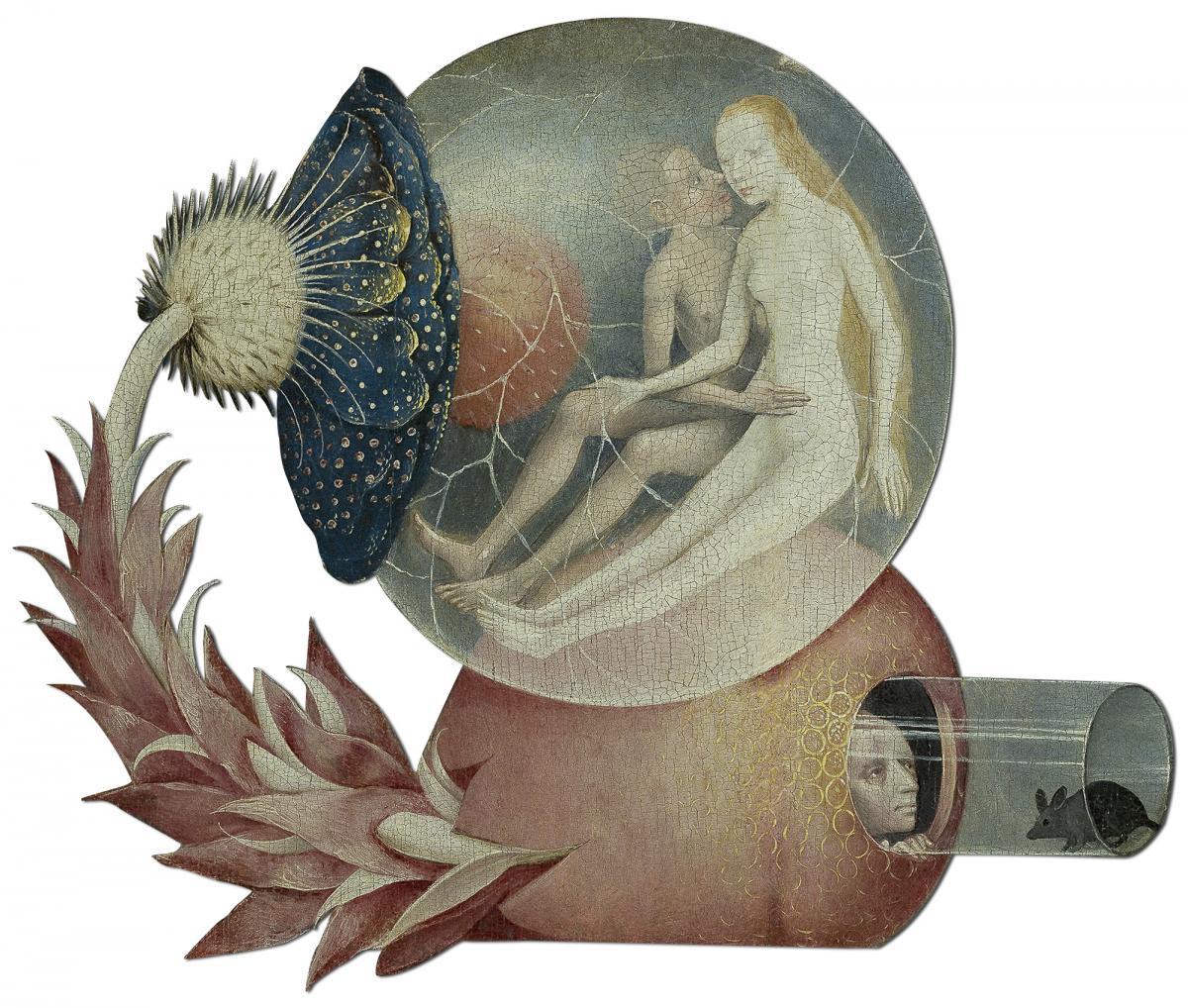 Uitgesneden figuur uit het midden paneel van de Tuin der Lusten, Bosch, inkjetprint op dibond cnc uitgesneden