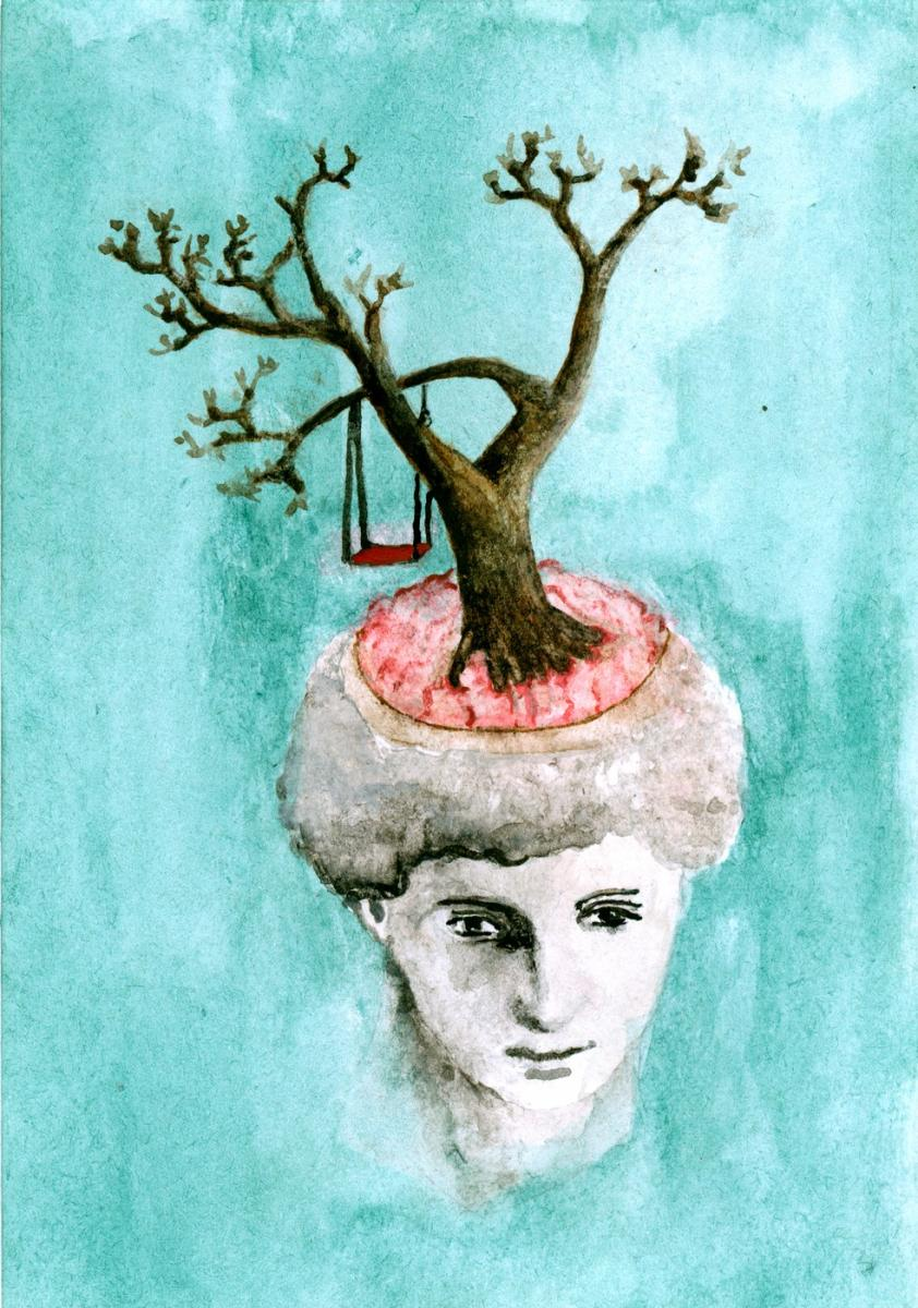 Brains, tree, swing, Watercolor, 2010