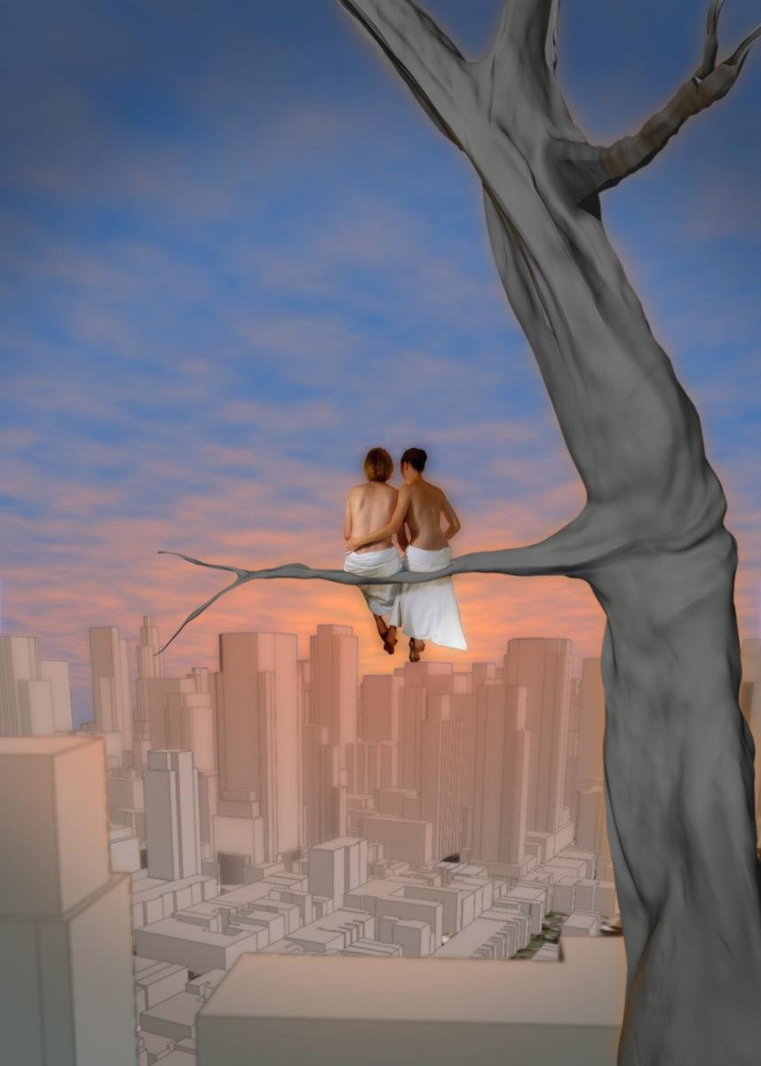 Sitting on a tree, digital photomontage, 2008