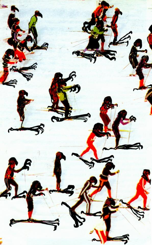 Bird-skiers, Drawing on photo, 2005