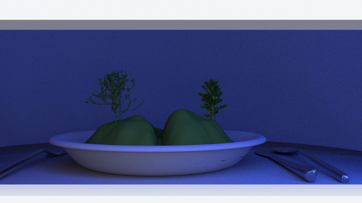 Landscape in a plate - diorama - LED lighting setup (evening) - 3D render