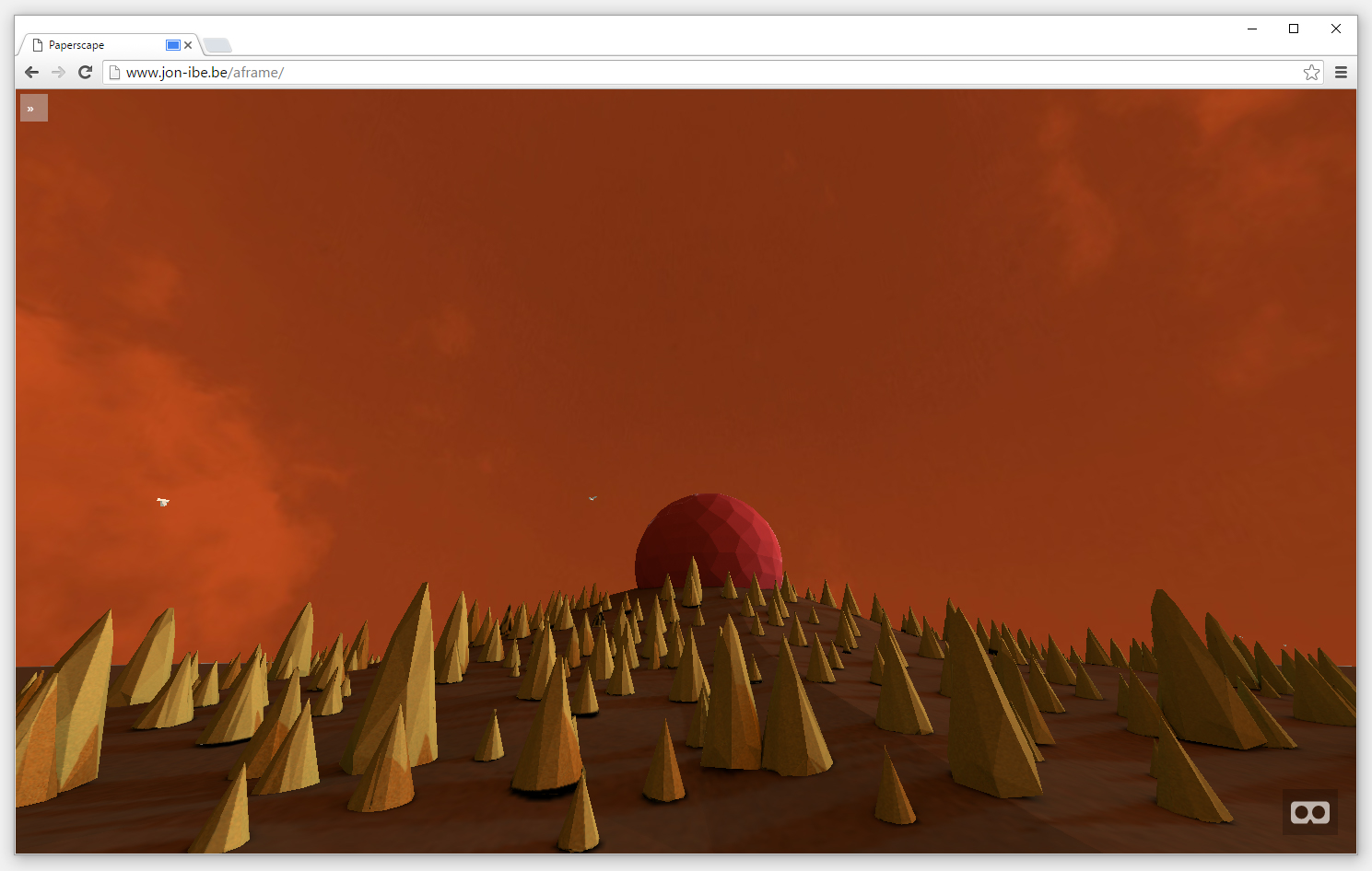 Breathing scape - A-Frame web experiment printscreen browser