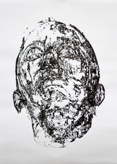 Selfportrait, Ibe - Chinese ink on paper, 42 x 29.5 cm, 2017
