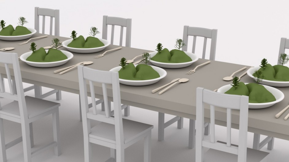Landscape in a plate / large table - 3D render
